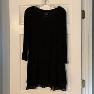 Black flared tunic top